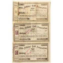 Odd Fellows Hall Association Stock Certificate Trio
