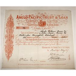 Anglo-Pacific Trust & Loan Company, Limited, Stock (Pink)