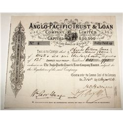 Anglo-Pacific Trust & Loan Company, Limited, Stock Certificate