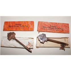 Chicago World's Fair Souvenir Key Pair