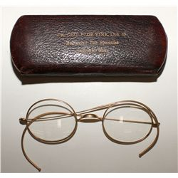 Gold eyeglasses w/ case from Goldfield, c.1910s