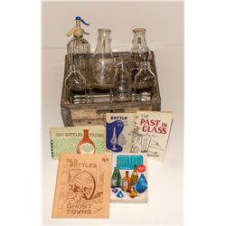 California/Nevada Milk Bottles in Crate with Modern Bottle Books
