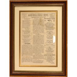 Gold Hill Daily News Framed Newspaper