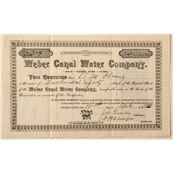 Weber Canal Water Company Stock Certificate