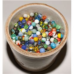 1,000 marbles in original pottery jug