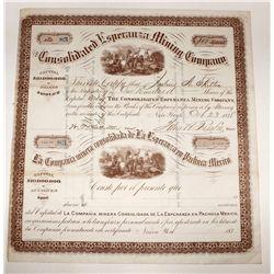 Consolidated Esperanza Mining Company, Stock Certificate