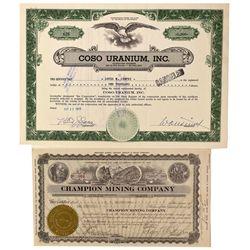 Champion Mining Company and Coso Uranium Inc. Mining Stock Certificates