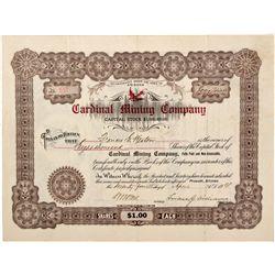 Cardinal Mining Company Stock Certificate