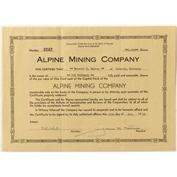 Alpine Mining Co. Stock Certificate
