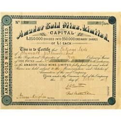Amador Gold Mine, Limited, Stock Certificate
