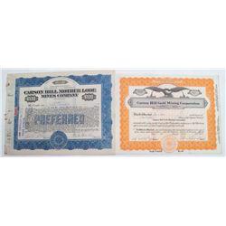 Carson Hill Stock Certificates