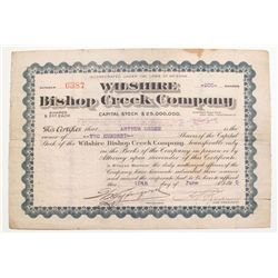Wilshire Bishop Creek Mining Stock-Inyo County