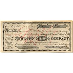 Rare Issued Newton Mining Co. Stock Certificate
