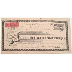 Jennie Lind Gold & Silver Mining Stock -Forest Hill, Cal. 1900