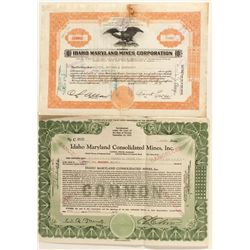 Grass Valley Mining Stock Certificates Pair