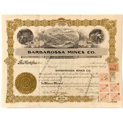 Barbarossa Mines Co. Stock Certificate