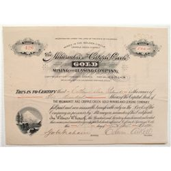 Milwaukee & Cripple Creek Gold Mining and Leasing Company Stock Certificate