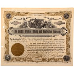 Double Dividend Mining and Exploration Company Stock Certificate
