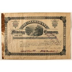 The Alleghany Mining Company Stock Certificate