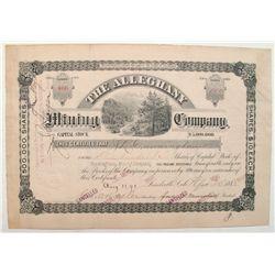 Alleghany Mining Company Stock Certificate