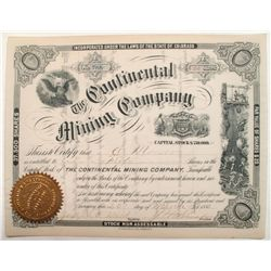 Continental Mining Company Stock Certificate