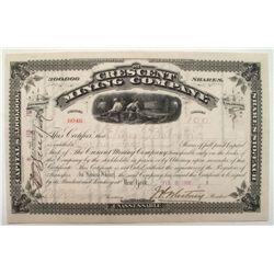 Crescent Mining Company Stock Certificate