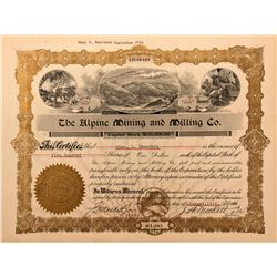 Alpine Mining and Milling Company Stock Certificate