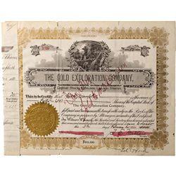 Gold Exploration Company Stock Certificate