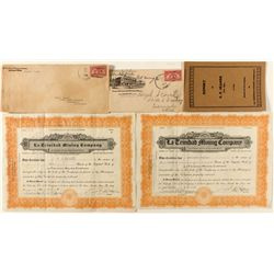 La Trinidad Mining Co. Stock Certificates with Report & Covers Group