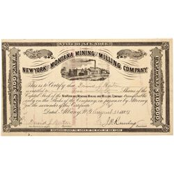 New York and Montana Mining and Milling Company Stock Certificate *Territorial*