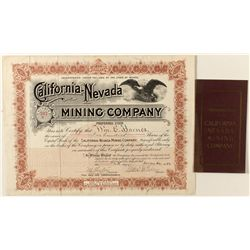 California-Nevada Mining Co. Stock Certificate and Prospectus