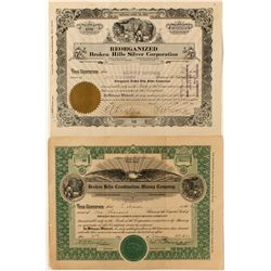 Pair of Broken Hills Mining Stock Certificates