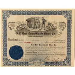 Gold Reef Consolidated Mines Co. Stock Certificate