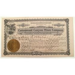Cottonwood Canyon Mines Co Stock of Goldfield