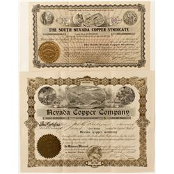 Two Nevada Copper Stock Certificates