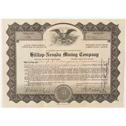 Hilltop-Nevada Mining Co. Stock Certificate