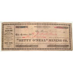 Betty O'Neal Mining Stock Certificate