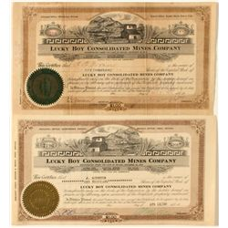 Lucky Boy stock certificates