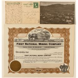 National Mining Stock Certificate and Postcard