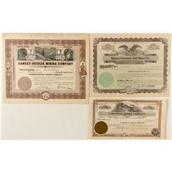 Trio of Ramsey Mining Stock Certificates