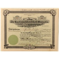 Ray Consolidated Gold Mining Co. Stock Certificate