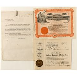 Rosebud Mining Stock Certificates and Correspondence