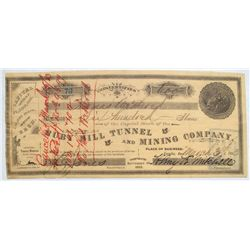 Ruby Hill Tunnel & Mining Company stock signed by future Governor Jones