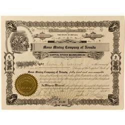 Mono Mining Company of Nevada Stock Certificate