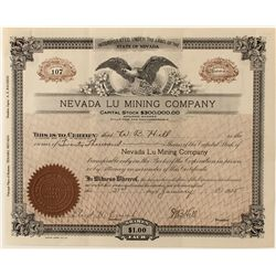 Nevada Lu Mining Co. Stock Certificate