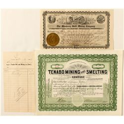 Tenabo Stock Certificates and a Billhead