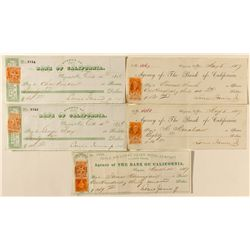 Gould & Curry Checks w/ revenue stamps from Janin as Supt.