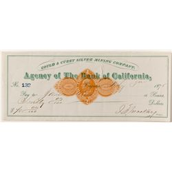 Gould & Curry, Virginia City check w/ Mackay signature
