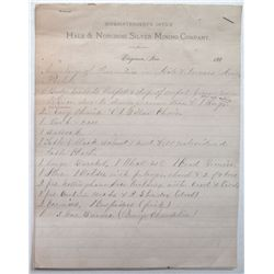 Hale & Norcross Silver Mining Co Documents