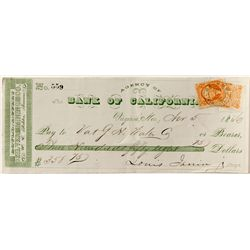 Rare Gould & Curry Check, Virginia City, w/ revenue at upper right